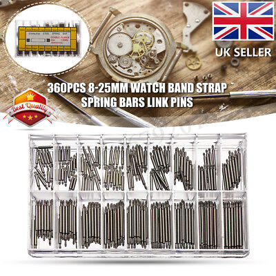 360Pcs 8-25mm Watch Band Strap Spring Bars Strap Link Pins Stainless Steel Tools