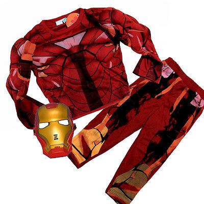 New Size 2-12 Kids Costumes Boys Ironman Muscle Superheroes Mask Avenger