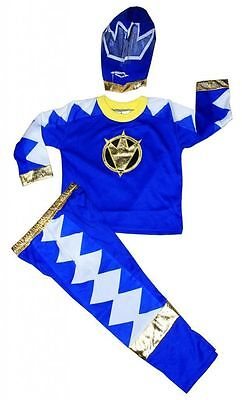 New Size 2-12 Kids Costumes Boys Power Ranger Blue Party Superheroes Gift Hood