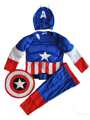 New Size 2-12 Kids Costumes Boys Captain America Muscle Superheroes Mask Avenger
