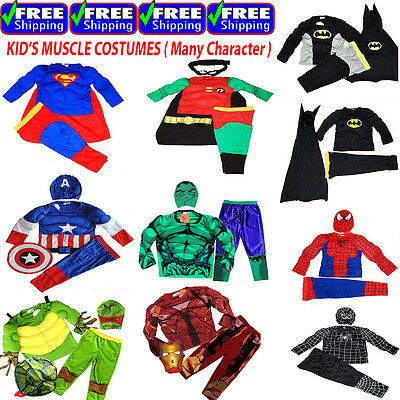 New Size 2-12 Kids Costumes Boys Superman Muscle Batman Spiderman Turtle Party