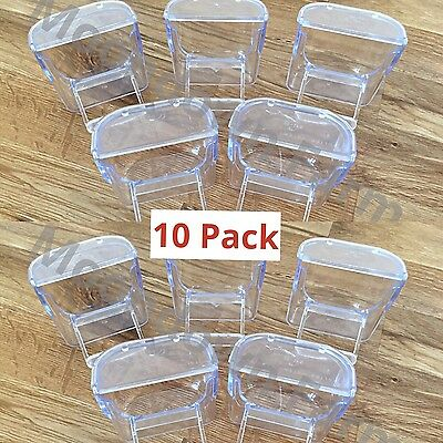 10 x SEED HOPPER WITH LID FOR CAGE AVIARY BIRDS, CANARIES, FINCHES & BUDGIES