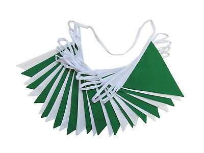 Green and White Fabric Bunting St Patrick's Day Weddings Christenings Parties
