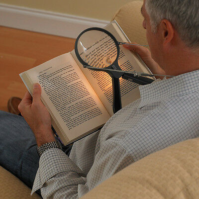 Hands Free Neck Magnifier with LED Light & Cord 2X Maginification Vision Aid