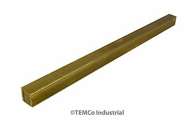 "1/2"" Inch 12"" Long C360 Brass Half Hard Square Bar Mill Rod Stock .50"""