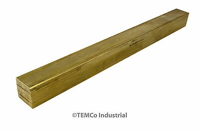 "3/4"" Inch 12"" Long C360 Brass Half Hard Square Bar Mill Rod Stock .75"""