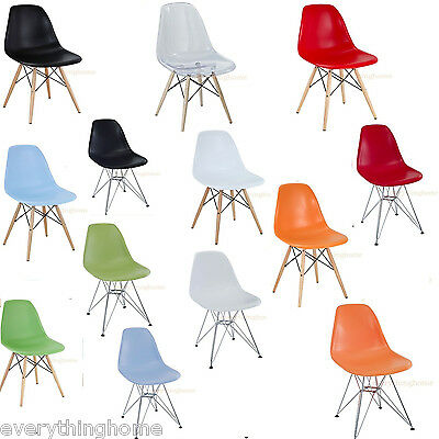 Eiffel Shell Chair Wood Dowel Or Wire Leg Base Side Dining Eames Style 7 Colors