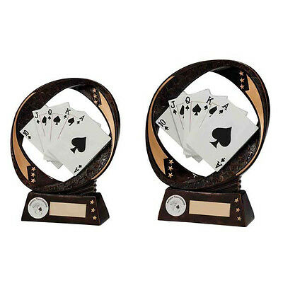 Poker/Card Trophies Resin Poker Cards Card Hand Award 2 sizes FREE Engraving