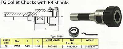 R8 Bison TG 100 Collet Chuck + Wrench ALL NEW