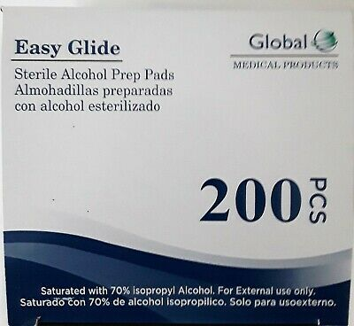 200 GLOBAL EASY PREP ALCOHOL PREP PADS (isopropyl alcohol) liquid 2 Boxes of 100