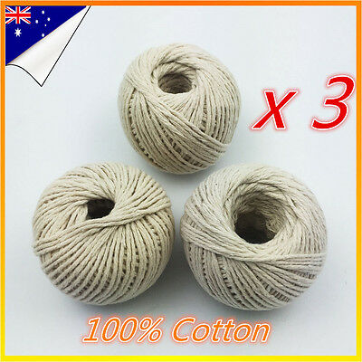 3x Cotton Butchers Meat Trussing Twine String Tie Food Cooking Kitchen Craft