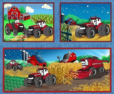 Case Kids Red Tractor On The Farm Patchwork Fabric Panel