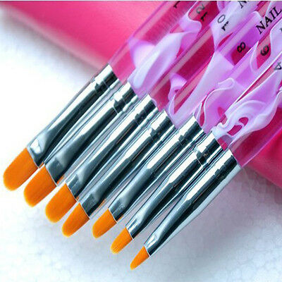 1 Set /7 pcs UV Gel Acrylic Nail Art Builder Brush Pen Painting (Color: Purple)