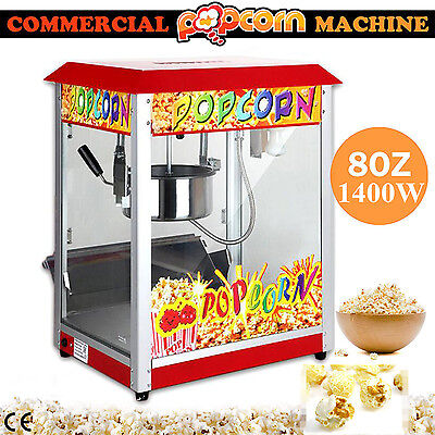 1400W Popcorn Popper Maker Machine Electric Large Commercial 8OZ Deluxe red roof
