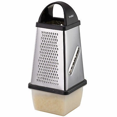 VonShef 4 Sided Stainless Steel Cheese Grater with Collection Box & Lid