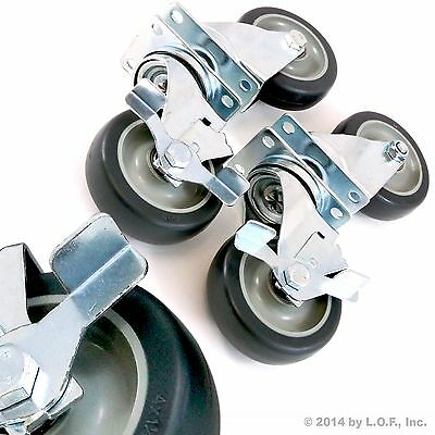 "Set of 4 Swivel Plate Casters with 4"" Polyurethane Wheels Over 1100lbs Capacity"