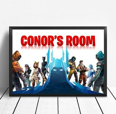 Fortnite PERSONALISED Poster Print Children's Bedroom Sign Battle NAME TAG A4 UK