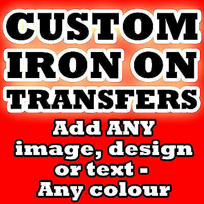 Custom Iron On T Shirt Transfer Personalised Text Any Colour
