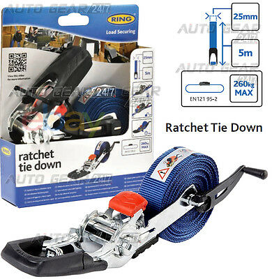 E Approved 25mm x 5m 260KG Quick Release Ratchet Tie Down Strap Lorry Trailer