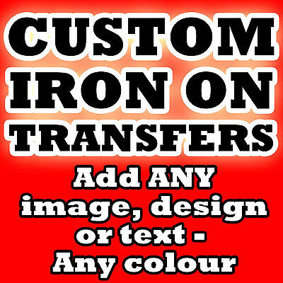 Custom Iron On T Shirt Transfer Personalised Text Any Colour P&P