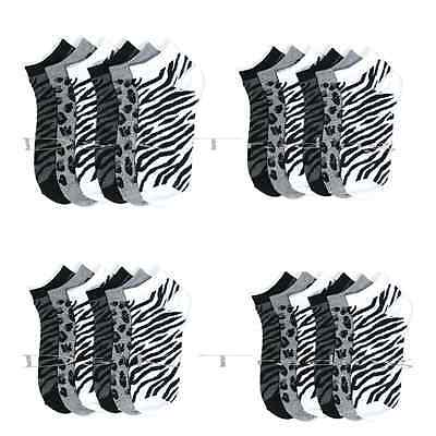 Women Zebra Black White Wild  Ankle Spandex Lowcut Socks Wholesale Lots 9-11
