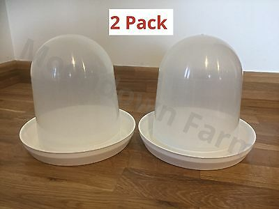 2 x 1500ml Poultry / Aviary Drinkers For Small Birds / Chicks / Chickens 1.5L