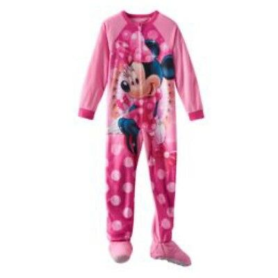 Disney's Minnie Mouse Polka-Dot Fleece Footed Pajamas Pj Girls Clothes size 6  8
