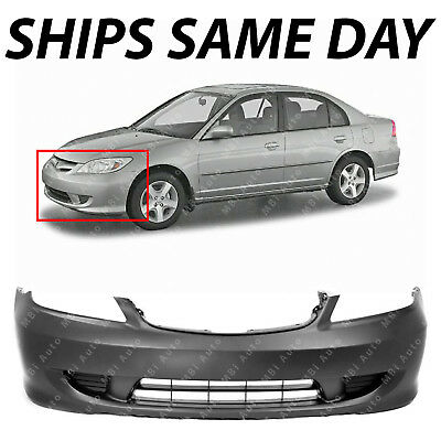 NEW Primered - Front Bumper Cover for 2004 2005 Honda Civic Sedan / Coupe 04 05