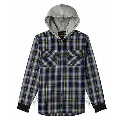 ANALOG by BURTON Mens 2015 Snowboard Navy Blue Plaid INTEGRATE HOODED FLANNEL