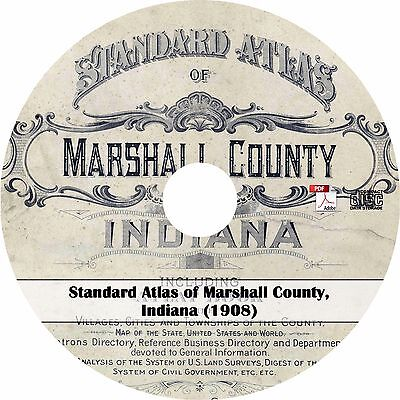 1908 Atlas of Marshall County Indiana - IN History Plat Book Maps Book on CD
