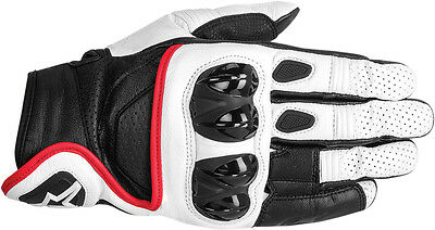 ALPINESTARS Celer Leather Touch Screen Riding Gloves (White/Blk/Red) Choose Size