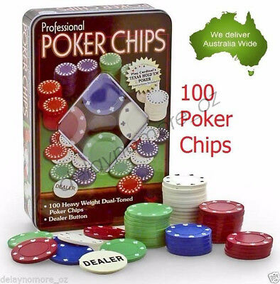 NEW Professional 100 Poker Chips TEXAS HOLD'EM Casino Party Chip Dealer Button
