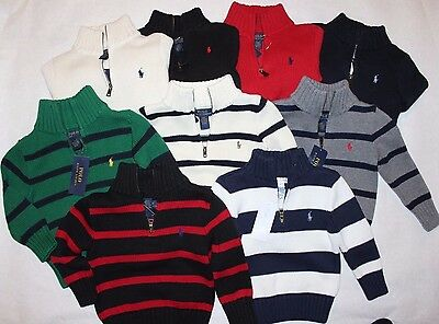 NWT Polo RALPH LAUREN Baby/Toddler Boys 1/2 Zip Knitted Cotton Sweater Pullover
