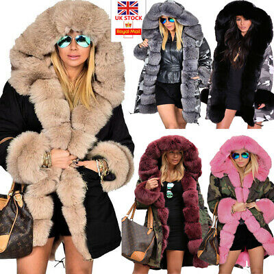 Roiii Women Ladies Winter Long Warm Thick Parka Faux Fur Jacket Hooded Coat 8-20