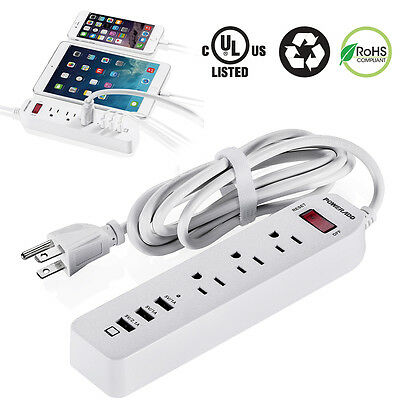 3 USB Charger 3 Outlet Socket Power Strip With Surge Protector Lightningproof US