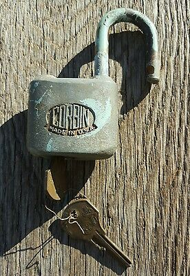 Vintage Brass Corbin Cabinet Lock Co Padlock Working With Keys Chippy Paint