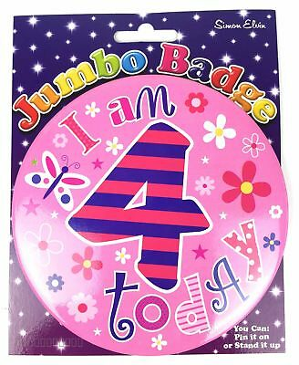 I Am 4 Birthday Badge Age 4th Large Jumbo Girls Flower Pink Party Accessory Gift