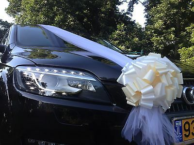 Wedding Car Decoration Kit, 1 Tulle Ribbon +6 Pull Bows Complete Set For Any Car
