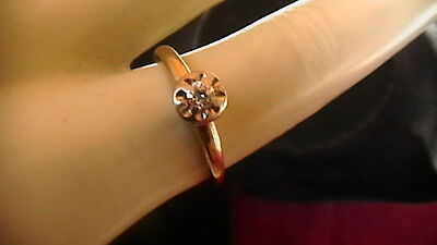 Vintage 14K Yellow Gold And Diamond Ring Size 5.5