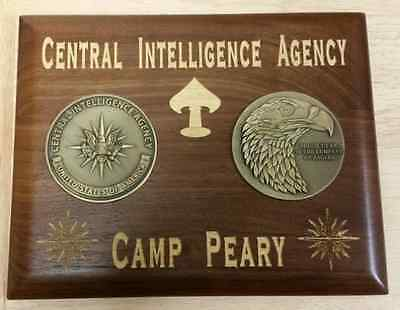 "CIA Camp Peary OSS Spear 16 Point Star Walnut Plaque Two 3"" Medallions 8""X10.5"""
