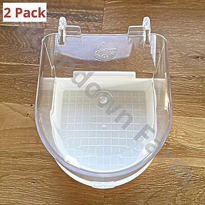 2 x Bird Cage Aviary Bath with Transparent Top Budgies Canaries Finches