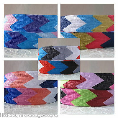 Foe Fold Over Elastic - Wide Chevron Print By The Metre
