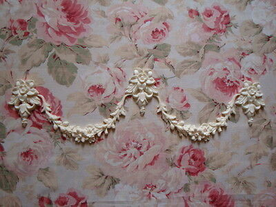 Shabby & Chic Floral Swags & Bell Drops Furniture Appliques Architectural Trim