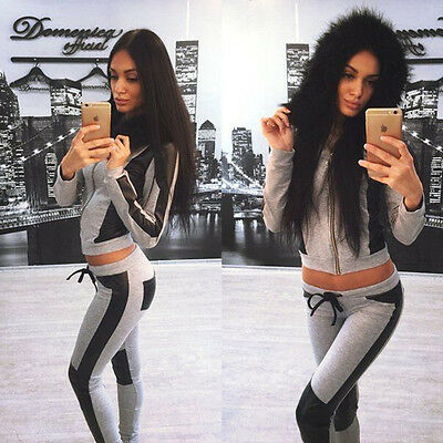 Womens Fashion Casual Tracksuit Sweatsuit Pullovers Fur Collar Hoodies Pants Set