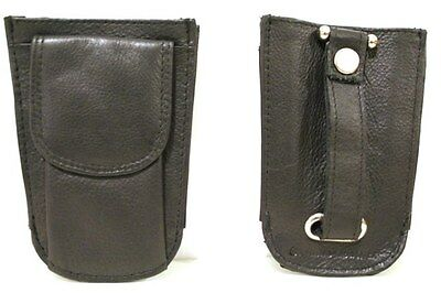 Quality Full Grain Cow Hide Leather Key Ring Holder and Coin Purse. Black. 11042