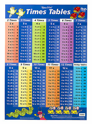Educational Poster Times Tables Blue/ Multiplication Double-sided Wall Chart