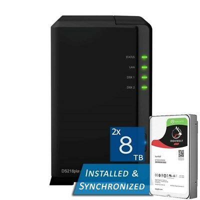 Synology DiskStation DS218play 2 Bays NAS + 16TB 2x Seagate 8TB ST8000VN004