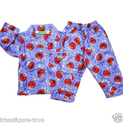 cotton Girls ELMO seasame street  flannel pjs Flannelette Pyjama kids SIZE 1-5