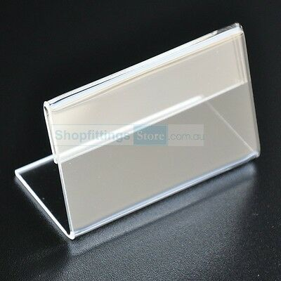 10 x Acrylic Price Tag / Information Holders Clear 86mm x 56mm