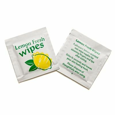 SMALL Lemon Fresh Wet Hand Wipes Towels Hot Cold Individually Wrapped Restaurant